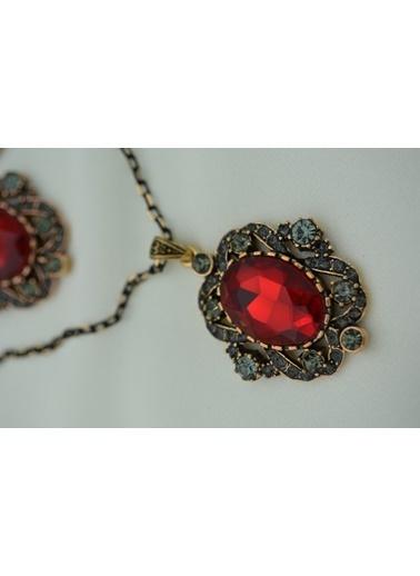 Stoneage Kolye Küpe Set Takım Taş Yakut ve Zirkon Kırmızı